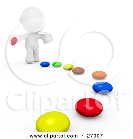 Clipart Illustration of a White Meta Man Bending Over To Pick Up Pieces Of Colorful Candies That Have Ben Set In A Path For Him To Follow by Leo Blanchette