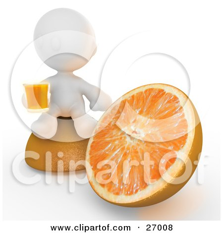 White Meta Man Sitting On Top Of Half Of An Orange Beside The Other Half, Drinking A Glass Of Orange Juice Posters, Art Prints