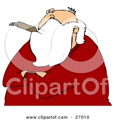 Clipart Illustration of Santa Claus With His Arms Crossed, Smoking A Cigar And Looking Cynical by djart