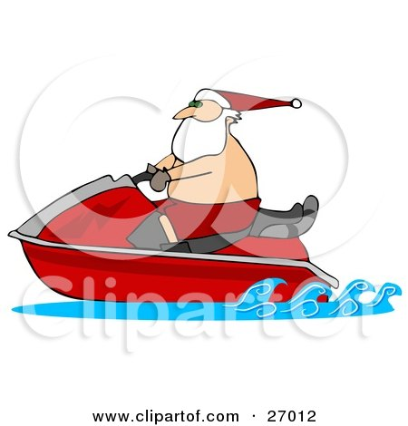 Clipart Illustration of Santa Claus Wearing Shorts And A Hat, Riding On A Red Jet Ski by djart