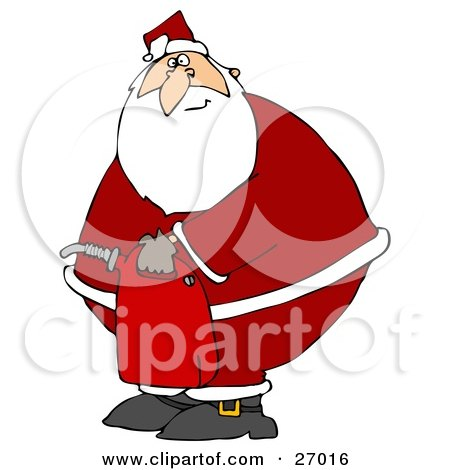 Clipart Illustration of Santa Claus In His Suit, Carrying A Gas Can After Running Out Of Gasoline by djart
