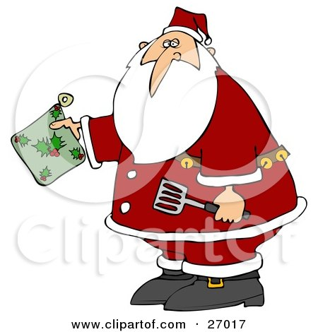 Clipart Illustration of Santa Claus Holding A Green Holly Hot Pad And Spatula In The Kitchen by djart