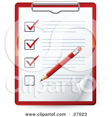 Clipart Illustration of a Red Pencil Marking Of Items On A Check List On A Clipboard by beboy