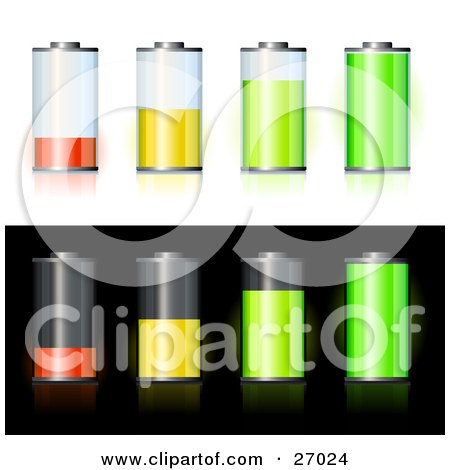 Clipart Illustration of Orange, Yellow And Green Batteries Forming A Bar Graph Showing Low To High Battery Power, Offered On White And Black Backgrounds by beboy