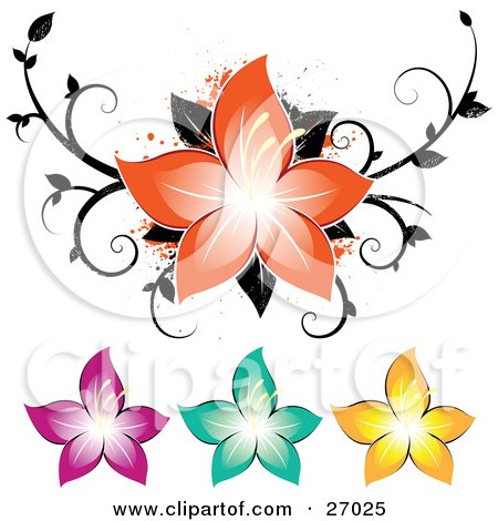 Clipart Illustration of a Beautiful Orange Flower Over A Grunge Black Scroll And Paint Splatters, Also Including Pink, Green And Yellow Flowers by beboy