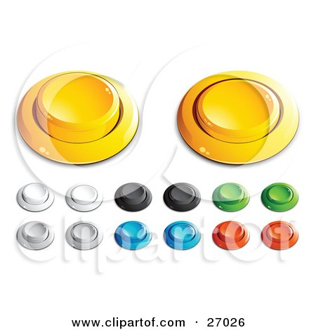 Clipart Illustration of Yellow, White, Black, Green, Blue And Red Push Buttons For A Game Or Web Design Element by beboy