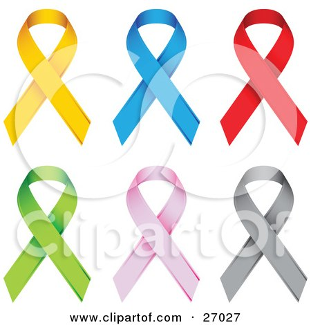Clipart Illustration of a Collection Of Yellow, Blue, Red, Green, Pink And Gray Awareness Ribbons by beboy