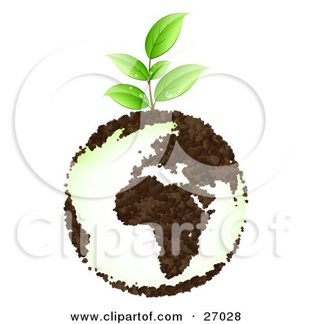 Clipart Illustration of an Organic Green Seedling Plant With Dew Drops, Growing From Planet Earth With Continents Made Of Soil by beboy