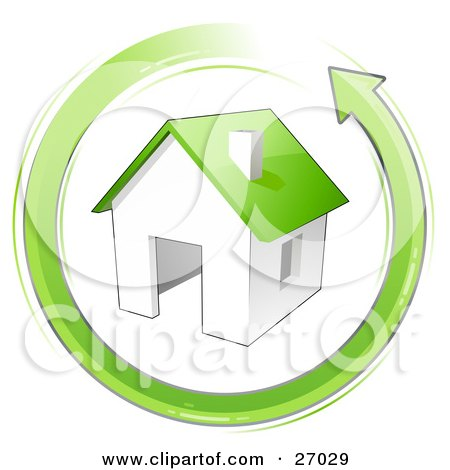 Clipart Illustration of an Energy Efficient House With A Green Roof, In The Center Of A Green Arrow Circling by beboy