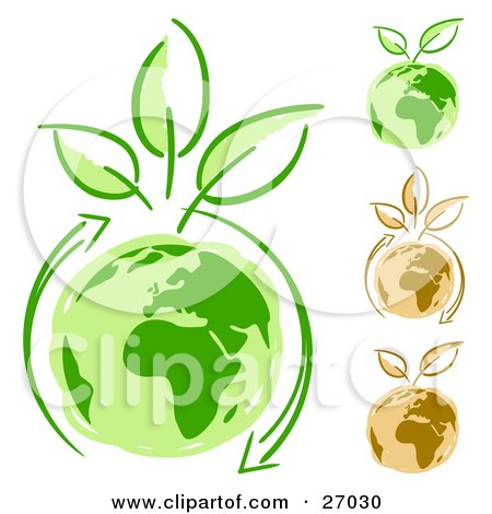 Clipart Illustration of Arrows Circling Green Planet Earth And Three Leaves Sprouting From The Top by beboy