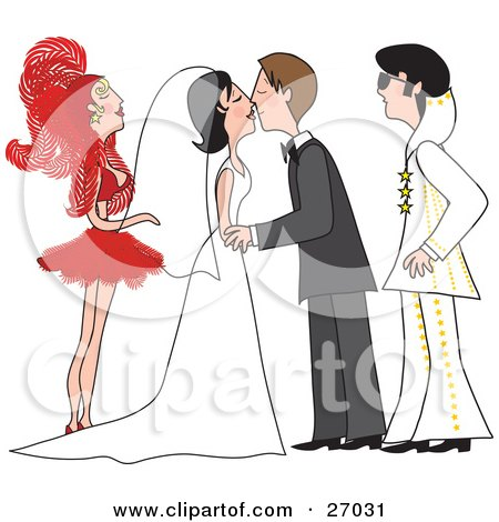 Clipart Illustration of a Bride And Groom In A Gown And Tuxedo, Kissing At Their Vegas Wedding Ceremony, With A Showgirl And An Elvis Impersonator As Their Witnesses by Maria Bell