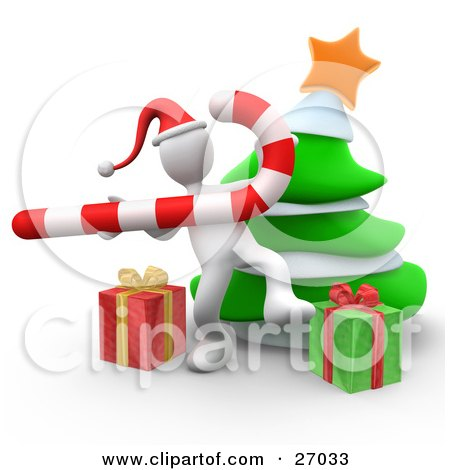White Person Wearing A Santa Hat And Dancing With A Candy Cane In Front Of A Christmas Tree And Presents Posters, Art Prints