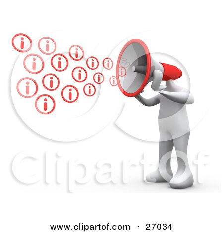 Clipart Illustration of a White Person With A Red Megaphone Head, Shouting Out Information by 3poD