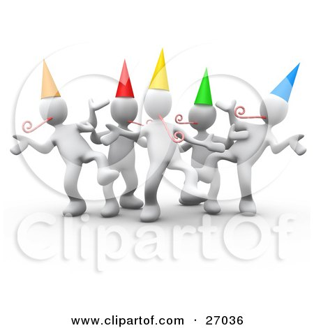Clipart Illustration of a Group Of White People Wearing Party Hats And Blowing Noise Makers While Dancing At A Birthday Or New Years Eve Party by 3poD