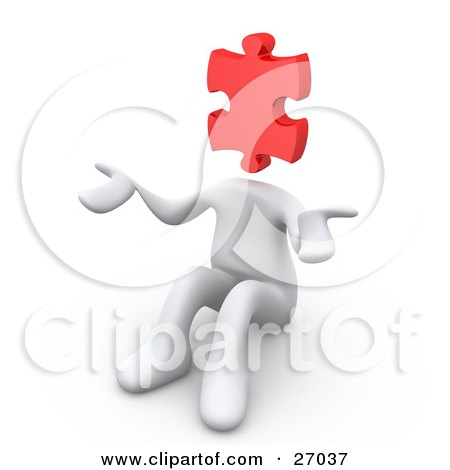 Clipart Illustration of a White Person With A Red Jigsaw Puzzle Piece Head, Sitting And Shrugging, Symbolizing Uncertainty Or Confusion by 3poD