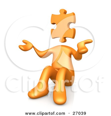 Clipart Illustration of an Orange Person With A Jigsaw Puzzle Piece Head, Sitting And Shrugging, Symbolizing Uncertainty Or Confusion by 3poD