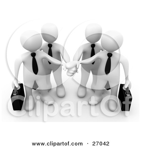 Clipart Illustration of Four White Business People Carrying Briefcases And Standing With Their Hands Piled, Symbolizing Teamwork, Cooperation, Support, Unity And Goals by 3poD