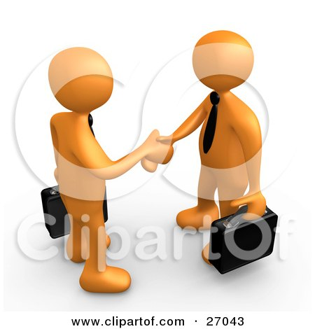 Clipart Illustration of a Couple Of Orange People With Briefcases, Engaged In A Handshake by 3poD