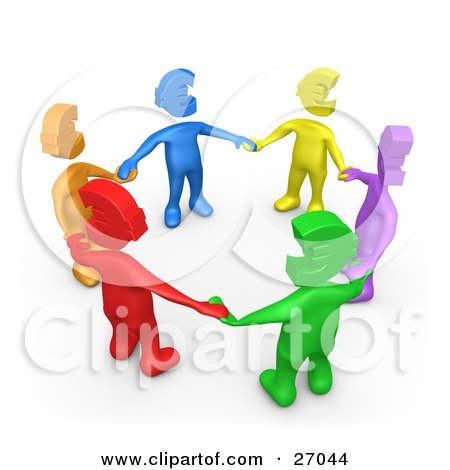 Group Of Diverse Blue, Yellow, Purple, Green, Red And Orange People With Euro Heads, Standing In A Circle And Holding Hands Posters, Art Prints