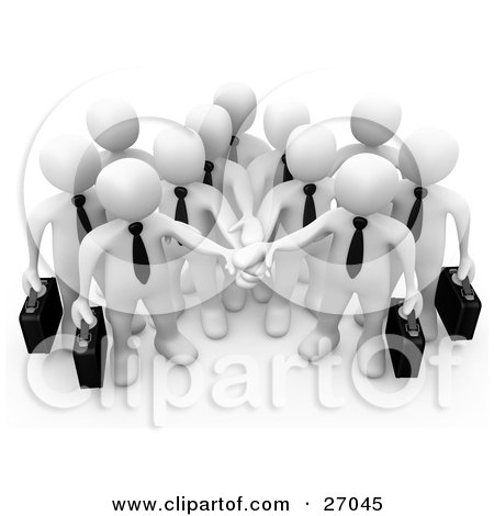 Clipart Illustration of a Group Of White Business People Carrying Briefcases And Standing With Their Hands Piled, Symbolizing Teamwork, Cooperation, Support, Unity And Goals by 3poD