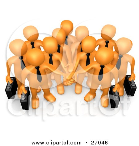 Clipart Illustration of a Group Of Orange Business People Carrying Briefcases And Standing With Their Hands Piled, Symbolizing Teamwork, Cooperation, Support, Unity And Goals by 3poD
