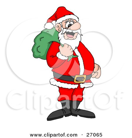 Clipart Illustration of Santa Claus Smiling And Standing With A Green Toy Sack Over His Shoulder by LaffToon