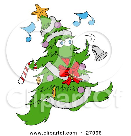 Jolly Christmas Tree Character With Ornaments, A Star And Garland, Dancing And Ringing A Bell While Listening To Music Posters, Art Prints