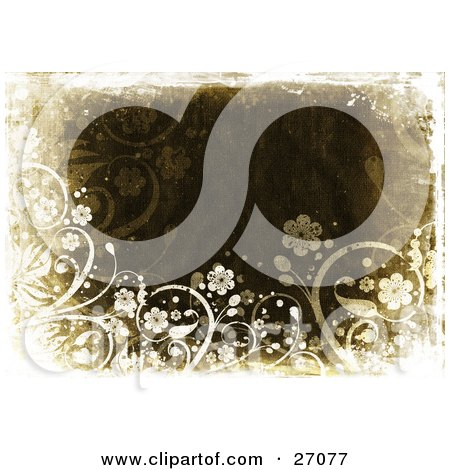 Clipart Illustration of White Flowers And Vines Bordering A Grungy Brown Canvas Textured Background by KJ Pargeter
