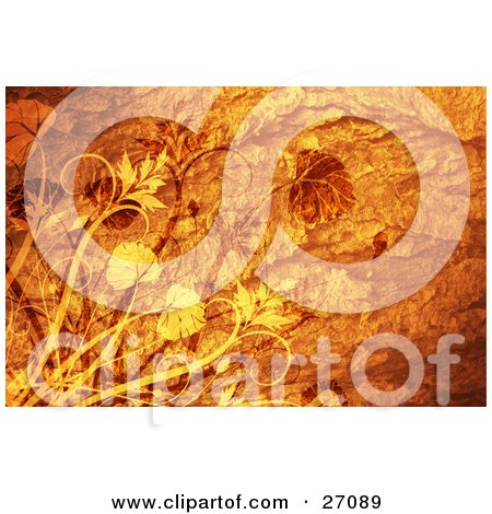 Clipart Illustration of Orange And Yellow Leaves On Plants Over A Textured Orange Background by KJ Pargeter