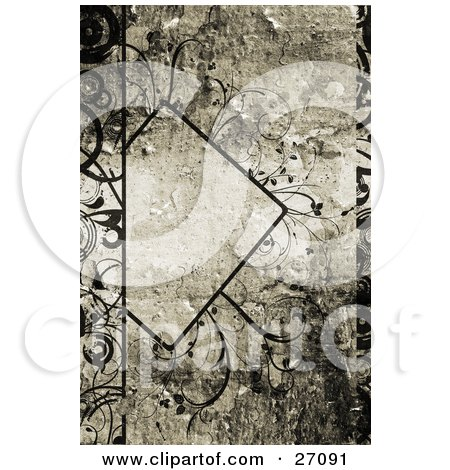 Black Diamond With Text Space, Adorned With Delicate Black Curly Vines Over A Painted Texture Background Posters, Art Prints