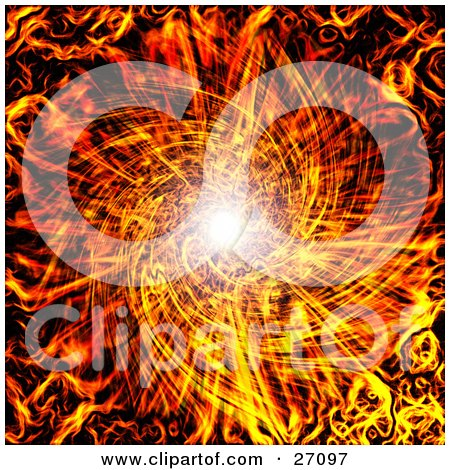 Clipart Illustration of a Fiery Vortex Background Of White Light Spiraling Down The Center by KJ Pargeter