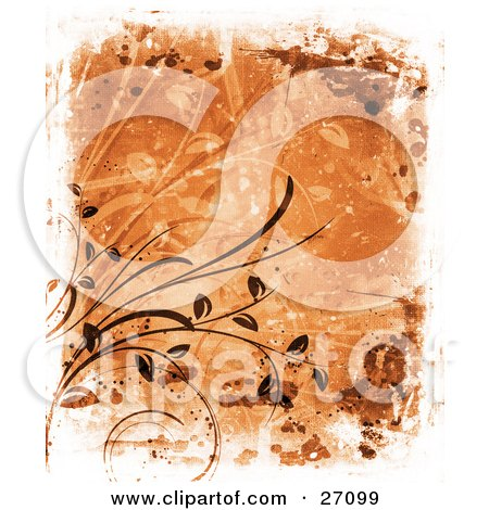 Clipart Illustration of an Orange Background With Brown Vines And Leaves, Smears And Splatters With A Canvas Texture by KJ Pargeter