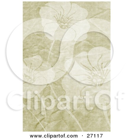 Floral Background Of Three Faded Flowers On A Tan Grunge Canvas Textured Background Posters, Art Prints