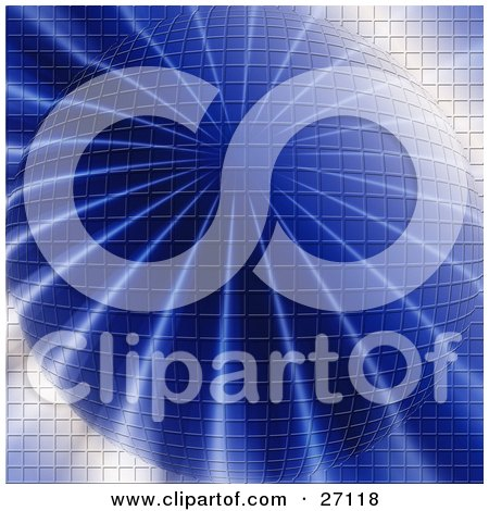 Clipart Illustration of a Blue Sphere Wigh A Grid Pattern And Rays Of Light Extending From The Center by KJ Pargeter