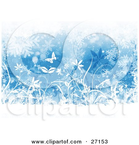 Clipart Illustration of a Wintry Background Of Silhouetted White Butterflies And Plants With Falling Snowflakes, Over Blue by KJ Pargeter