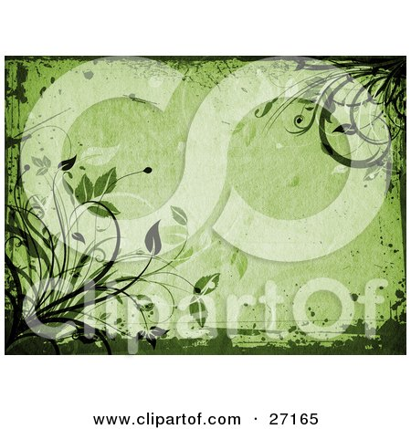 Backgrounds and borders - Clipart Illustration Of Organic Green Leaves And Vines With Grunge Borders On A Green Background