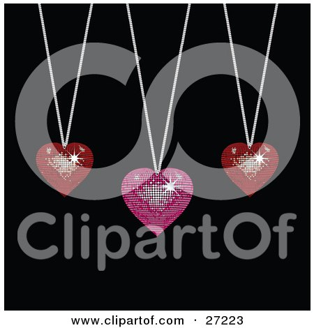 Clipart Illustration of Two Sparkling Red And One Pink Disco-Like Heart Pendants Suspended From Silver Necklaces Over A Black Background by elaineitalia