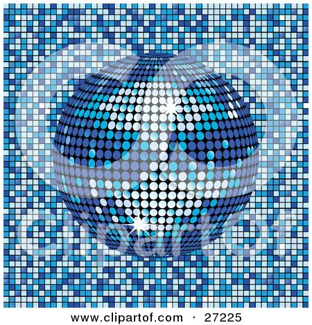 Clipart Illustration of a Sparkling Blue Mirror Disco Ball Spinning Over A Blue And White Mosaic Background by elaineitalia