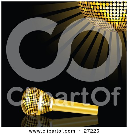 Gold Microphone Resting On A Reflective Black Surface Under A Glowing Golden Mirror Disco Ball Posters, Art Prints