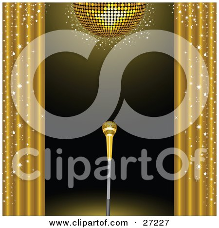 Clipart Illustration of a Golden Microphone On A Stand On A Stage, Framed By Golden Sparkling Curtains Under A Gold Disco Ball by elaineitalia