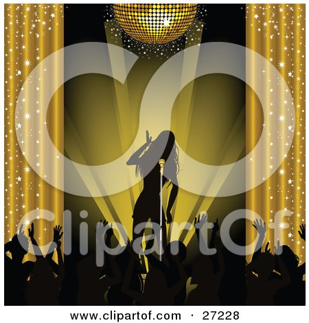 Clipart Illustration of a Silhouetted Female Musician Singing On Stage Under A Golden Disco Ball And Silhouetted Fans Waving Their Arms by elaineitalia