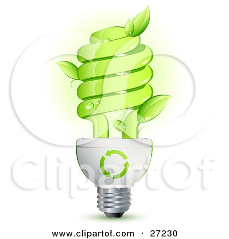 Clipart Illustration of a Green Energy Efficient Lightbulb With Leaves Sprouting From The Glass And Green Arrows Above The Spiral by beboy