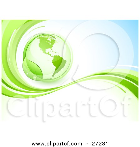 Clipart Illustration of a Green Globe Circled By A Green Dew Covered Leaf, Above A Green Wave On A Blue And White Background by beboy