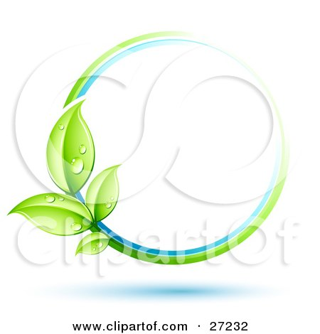 Green Plant With Dew Covered Leaves Circling A Blue And White Orb Over A White Background With Blue Shadows Posters, Art Prints
