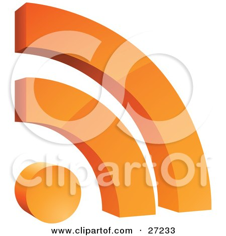 Clipart Illustration of an Orange Rss Symbol With Two Arches Over A Circle, Over White by beboy