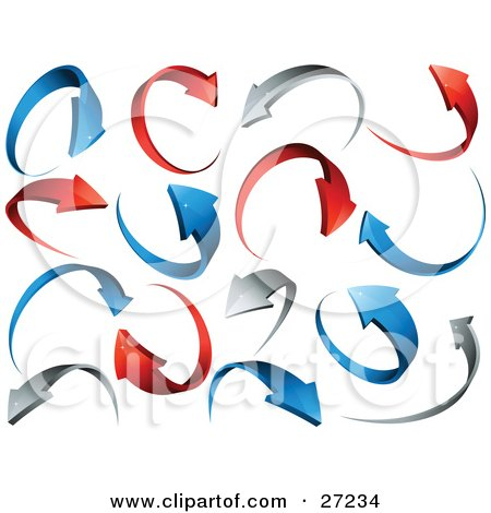 Background Of Red, Gray And Blue Circling Arrows Over White Posters, Art Prints