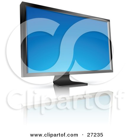 Clipart Illustration of a Black Flat Screen Computer Monitor Or Tv With A Blank Blue Screen, Resting On A Reflective White Surface by beboy