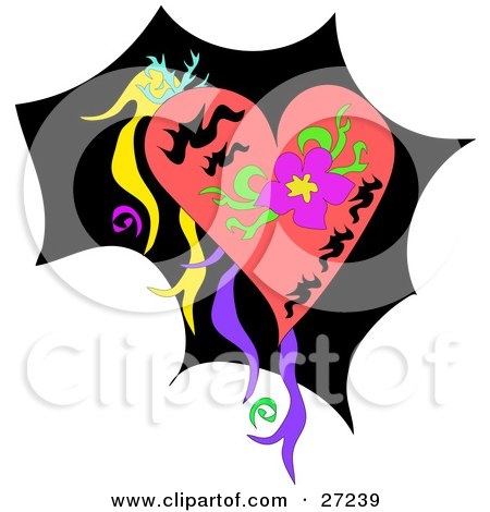 Royalty-free web design clipart picture of a pink heart with a purple flower