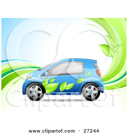 Clipart Illustration of a Blue Compact Car With A Green Leaf Paint Job On The Side, Symbolizing An Eco-Friendly Hybrid Vehicle, On A Background With Waves And Leaves by beboy