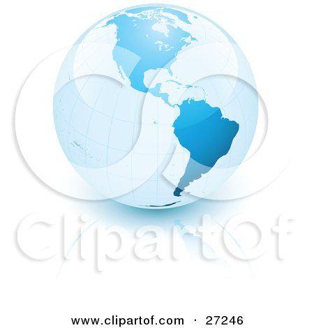 Clipart Illustration of a Reflective And Shiny Blue Planet Earth Resting On A White Surface With A Slight Reflection by beboy